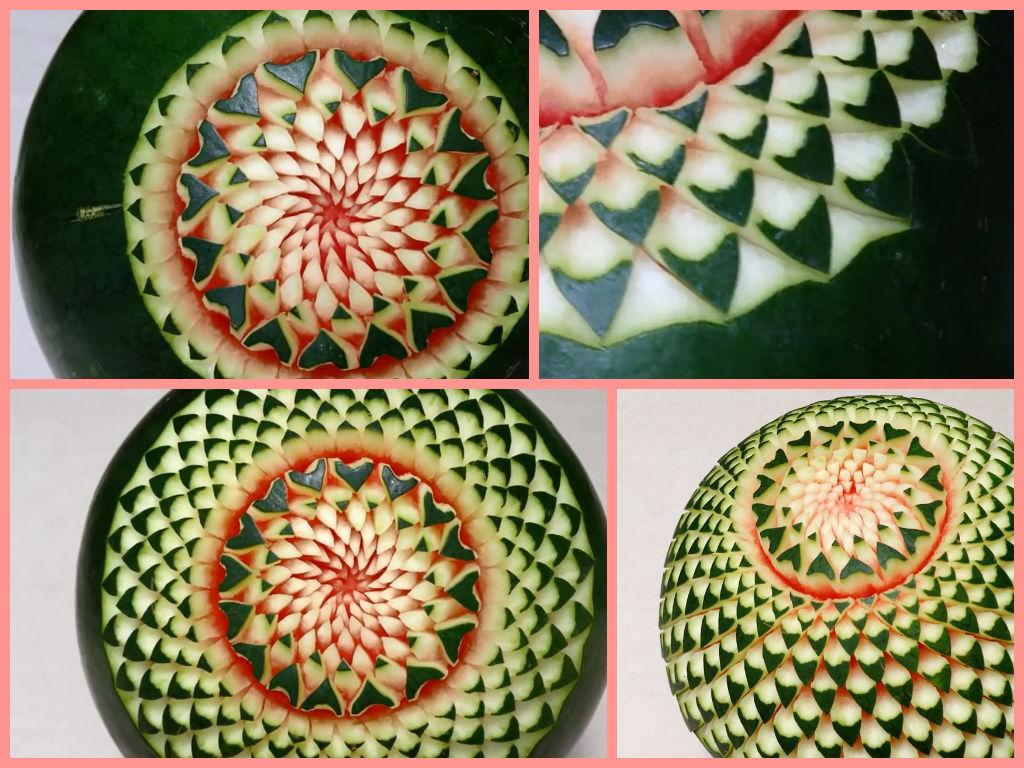 Cách tỉa dưa hấu hình hoa xương rồng bày cỗ Tết